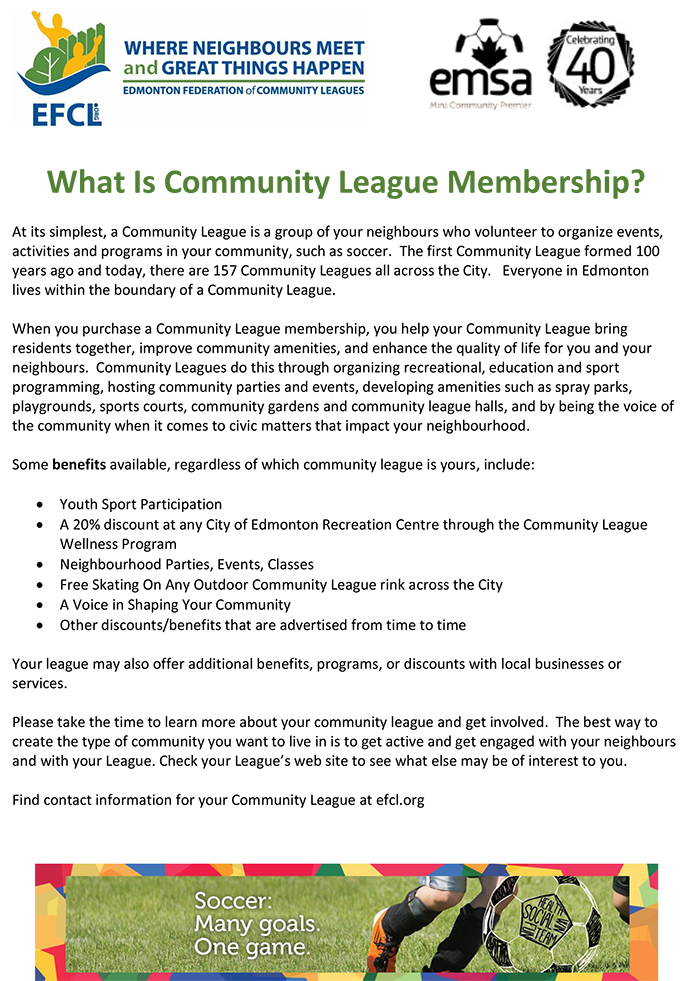 Rosslyn community league membership manager for O leary swimming pool edmonton